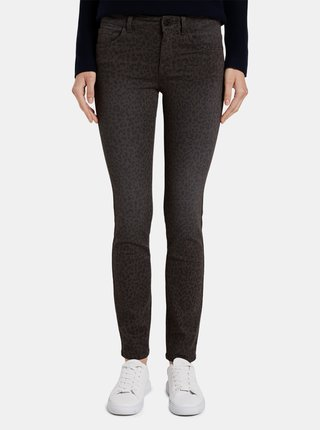 Hnedé dámske nohavice s leopardím vzorom Tom Tailor