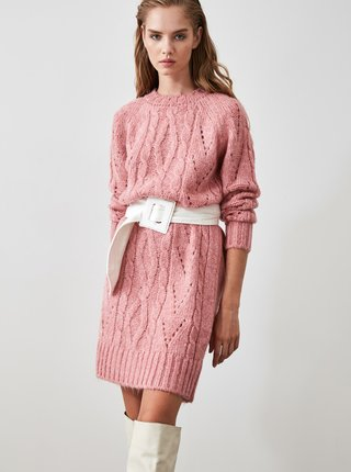 Růžové svetrové šaty Trendyol
