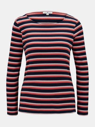 Modro-červené dámské pruhované tričko Tom Tailor