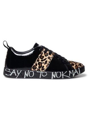 Desigual černé tenisky Shoes Cosmic Leopard