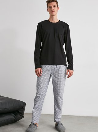 Šedé pánske kockované pyžamové nohavice Trendyol