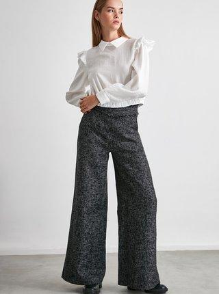 Šedé dámske široké nohavice Trendyol