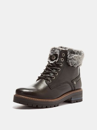 Tmavě hnědé dámské kožené zimní boty Wrangler