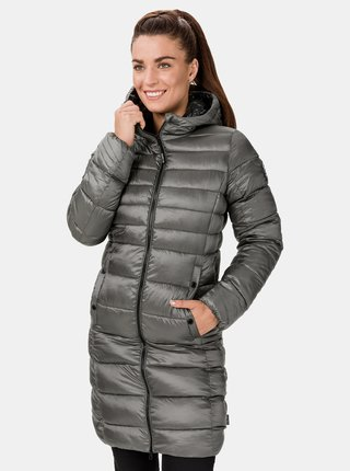 Šedý dámský zimní prošívaný kabát SAM 73