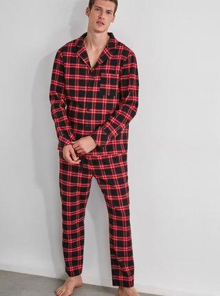 Červené pánske kockované pyžamo Trendyol
