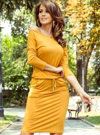 Horčicové šaty numoco