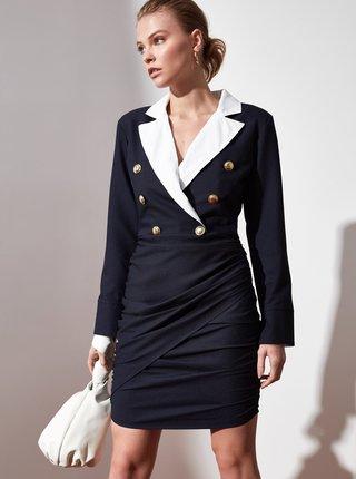 Tmavě modré pouzdrové šaty Trendyol