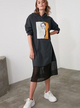 Tmavošedé šaty s kapucou Trendyol