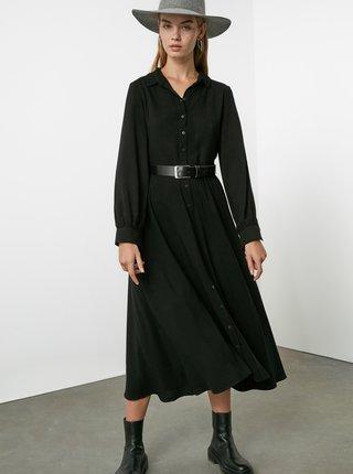 Černé košilové maxišaty Trendyol