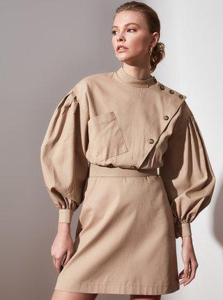 Béžové šaty s gombíkmi Trendyol