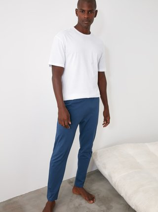 Sada dvoch pánskych pyžamových nohavíc v šedej a modrej farbe Trendyol
