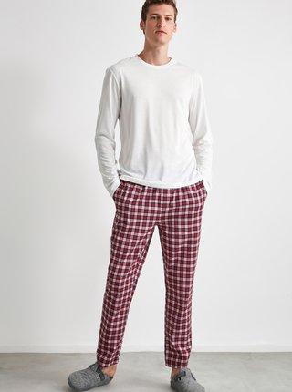 Vínové pánské kostkované pyžamové kalhoty Trendyol
