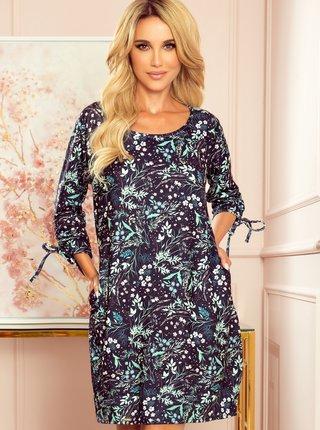 Tmavě modré květované šaty numoco