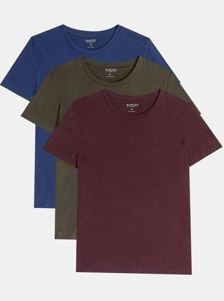 Sada tří basic triček v modré a khaki barvě Burton Menswear London