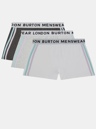 Sada tří boxerek v šedé a krémové barvě Burton Menswear London