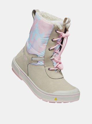Růžovo-béžové holčičí kožené zimní boty s umělým kožíškem Keen