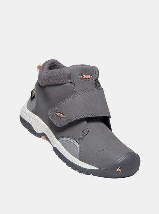Šedé dětské kožené zimní boty Keen