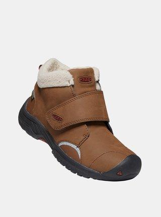 Hnědé dětské kožené zimní boty Keen