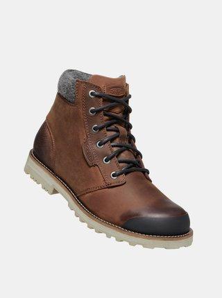 Hnědé pánské kožené zimní boty Keen