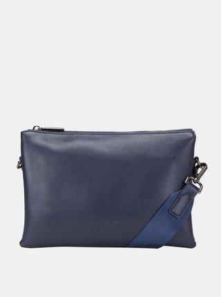 Tmavě modrá kožená crossbody kabelka Smith & Canova