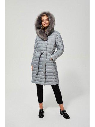 Moodo šedý zimní kabát s kapucí