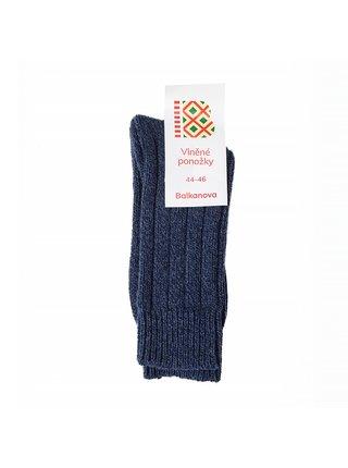 Vlněné ponožky 100% vlna, silný pružný úplet (tmavě modré)