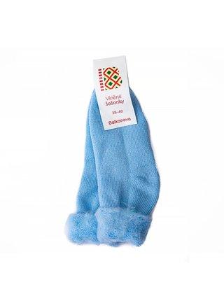 """Vlněné ponožky """"šošonky"""" - světle modré"""