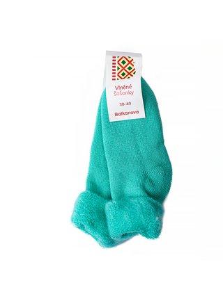 """Vlněné ponožky """"šošonky"""" - tyrkysové - 38–40"""