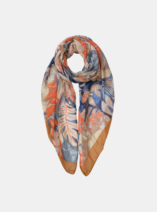 Modro-béžový dámský květovaný šátek Clayre & Eef