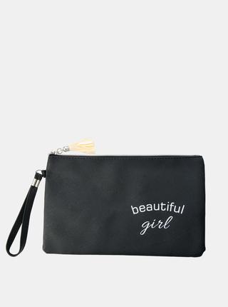 Čierna dámska kozmetická taška s nápisom Clayre & Eef