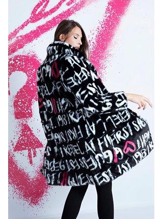 Černý zimní vzorovaný kabát z umělého kožíšku Guess