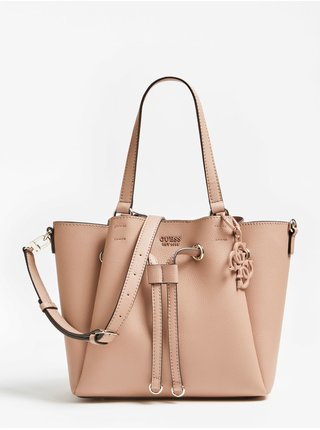 Guess pudrová kabelka Digital Logo Charm Shoulder bag
