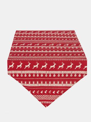 Červený běhoun na stůl s vánočním motivem Clayre & Eef