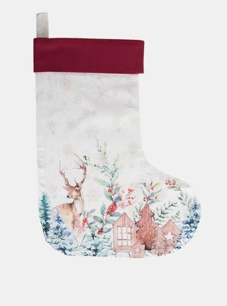 Bílá punčocha s vánočním motivem Clayre & Eef