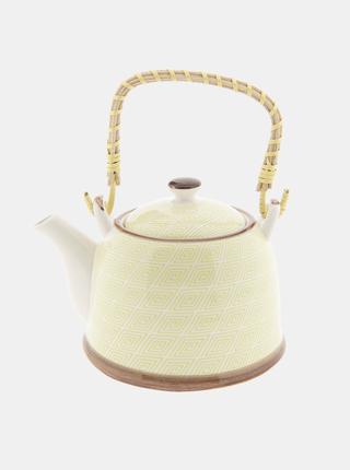 Žltá vzorovaná kanvice na čaj Clayre & Eef