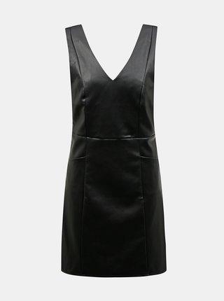 Černé koženkové šaty Dorothy Perkins