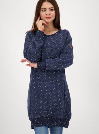 Modré puntíkované mikinové šaty Alife and Kickin