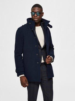 Tmavomodrý vlnený kabát Selected Homme Noah