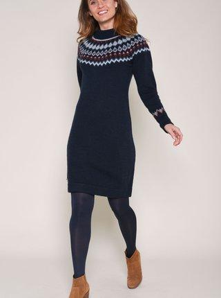 Tmavě modré vzorované svetrové šaty s příměsí vlny z alpaky Brakeburn