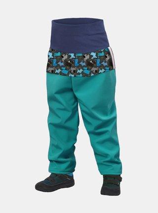 Tyrkysové klučičí softshellové kalhoty Unuo