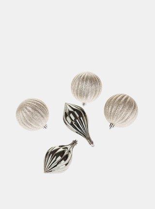 Sada pěti závěsných ozdob ve stříbrné barvě Dakls