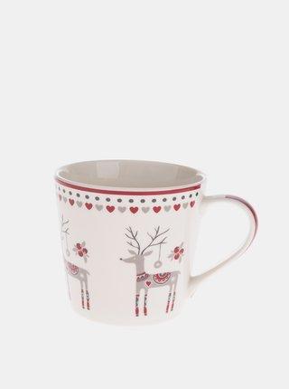 Krémový porcelánový hrnek s vánočním motivem Dakls 400 ml
