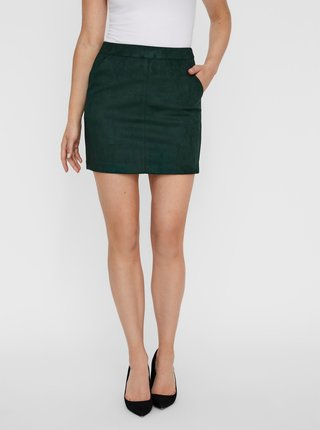 Tmavě zelená sukně v semišové úpravě VERO MODA