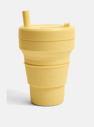 Žltý cestovná skladací hrnček so slamkou Stojo Biggie 470 ml