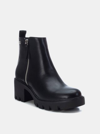 Černé dámské kotníkové boty na podpatku Xti
