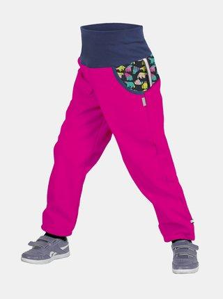 Holčičí růžové softshellové kalhoty s fleecem Unuo