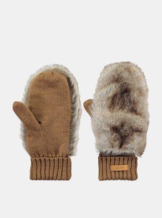 Hnědé dámské rukavice s umělým kožíškem Barts