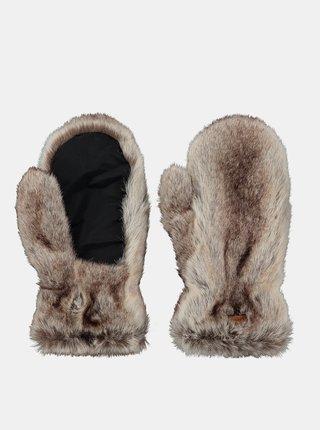 Hnědé dámské rukavice z umělého kožíšku Barts