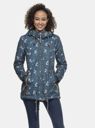 Modrá dámska kvetovaná zimná bunda Ragwear