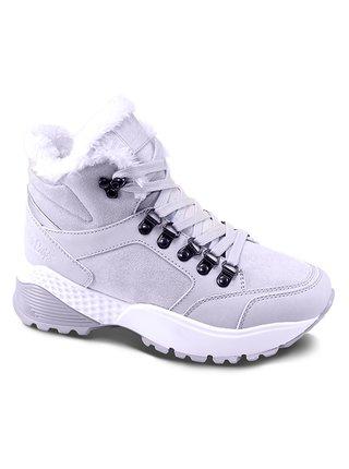 Lee Cooper šedé zimní boty s kožíškem